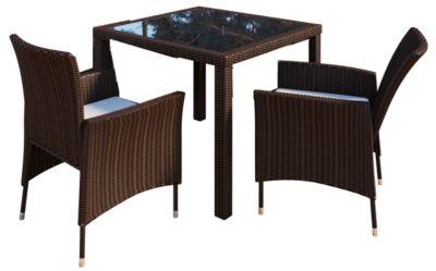 Rattan-Sitzgruppe, Tisch 90 x 90 cm mit 2 Stühlen, Braun