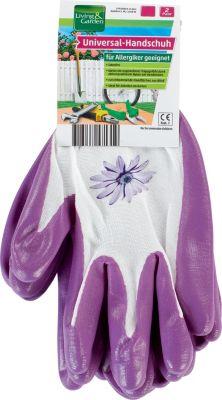 Living & Garden Universal-Handschuh, 2er Paar - Größe S, weiß/lila mit Blume