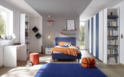 Jugendzimmer Mit Bett 120 X 200 Cm Weiss Matt Lack/ Holzstruktur Blau  Classico Enjoy