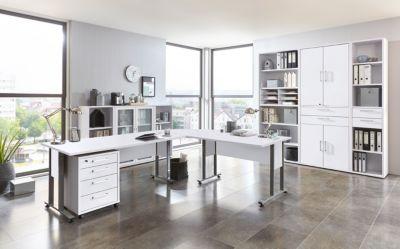 Büromöbel Set Brillant weiss mit Schreibtischwinkelkombination und Aktenschränken FMD aivlac   Büro > Büromöbel-Serien   FMD
