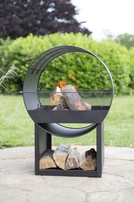 Feuerstelle aus Stahl, inklusive Holzstaufach, schwarz (Kopie) Tchibo