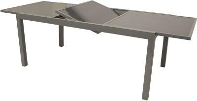 Gartentisch Ausziehbar 140-200x90 Cm, Aluminium Grau Mit Glastischplatte Frg - Handels Gmbh Ausziehtisch Metall Neutral