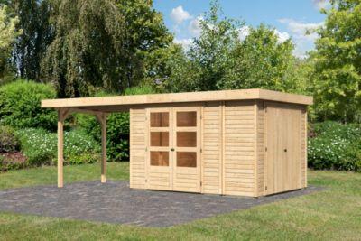 Woodfeeling Gartenhaus Retola 4 mit Anbaudach 2,80 m breit, inkl. Anbauschrank naturbelassen   Garten > Gerätehäuser   Fichte   Woodfeeling