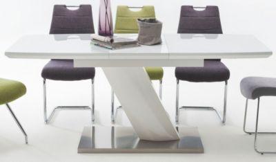 Esstisch 120 x 80 cm Weiss Hochglanz MCA-Furniture Galina
