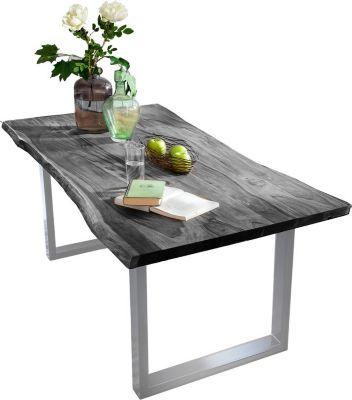 SIT Tisch 140 x 80 cm, Platte antikgrau, Gestell silbern TISCHE 7107-10