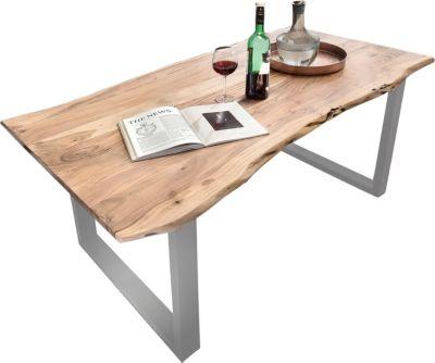 SIT Tisch 220 x 100 cm, Platte natur, Gestell silber TISCHE 7107-22