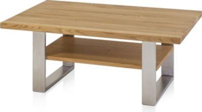 Henke Möbel Couchtisch Eiche Mit Boden 110 X 70 Cm   Kufen Edelstahl