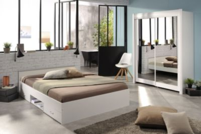 Schlafzimmer mit Bett 140 x 200 cm und Schwebetürenschrank 160 cm - Weiss Parisot Celebrity 51