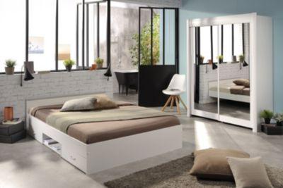 Schlafzimmer mit Bett 140 x 200 cm und Schwebetürenschrank 180 cm - Weiss Parisot Celebrity 52