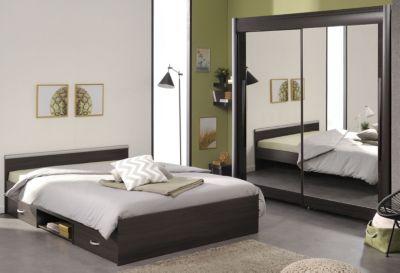 Schlafzimmer mit Bett 140 x 200 und Schwebetürenschrank 160 cm - Kaffee Parisot Celebrity 61