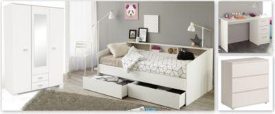 Schlafzimmer Mit Bett 90 X 200 Cm, Kleiderschrank, Kommode Und Schreibtisch    Weiss Parisot