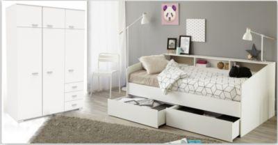 Schlafzimmer Mit Bett 90 X 200 Cm Und Kleiderschrank   Weiss Parisot Sleep  23