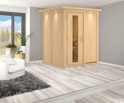 Karibu Systemsauna Valida 1 mit Kranz, Energiespartür und 9 kW Ofen (integr. Steuerung), inkl. Sauna-Zubehör-Set PLUS   Bad > Sauna & Zubehör > Saunen   Karibu