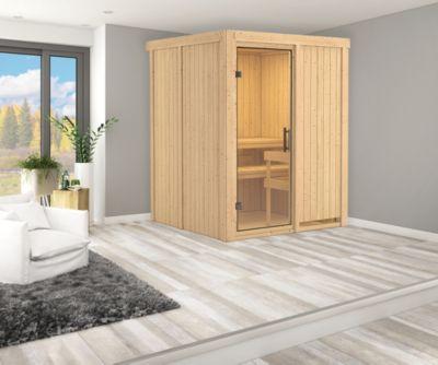 Karibu Systemsauna Valida 1 mit Klarglas-Ganzglastür und 9 kW Bio-Ofen (externe Steuerung), inkl. Sauna-Zubehör-Set PLUS   Bad > Sauna & Zubehör > Saunen   Karibu