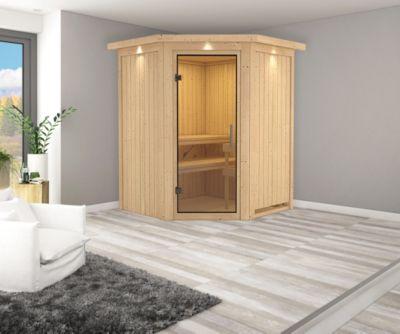 Karibu Eck-Systemsauna Valida 1 mit Kranz, Klarglas-Ganzglastür und 9 kW Ofen (externe Steuerung), inkl. Sauna-Zubehör-Set PLUS   Bad > Sauna & Zubehör > Saunen   Karibu