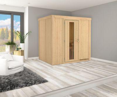 Karibu Systemsauna Valida 2 mit Energiespartür und 9 kW Ofen (externe Steuerung), inkl. Sauna-Zubehör-Set PLUS   Bad > Sauna & Zubehör > Saunen   Karibu
