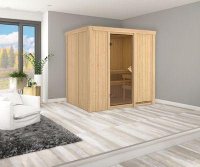 Karibu Systemsauna Valida 2 mit bronzierter Ganzglastür und 9 kW Ofen (externe Steuerung), inkl. Sauna-Zubehör-Set PLUS   Bad > Sauna & Zubehör > Saunen   Karibu
