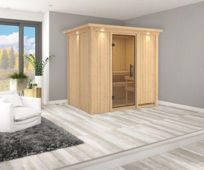 Karibu Systemsauna Valida 2 mit Kranz, Klarglas-Ganzglastür und 9 kW Bio-Ofen (externe Steuerung), inkl. Sauna-Zubehör-Set PLUS   Bad > Sauna & Zubehör > Saunen   Karibu