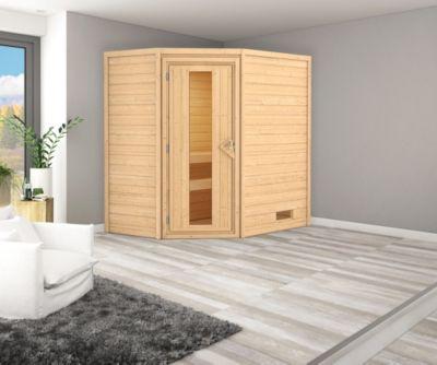 Karibu Eck-Systemsauna Turku 2 mit Energiespartür und 9 kW Bio-Ofen (externe Steuerung), inkl. Sauna-Zubehör-Set PLUS   Bad > Sauna & Zubehör > Saunen   Fichte   Karibu