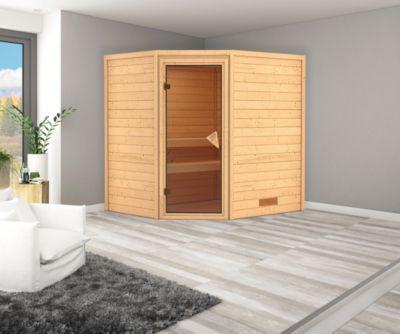 Karibu Eck-Systemsauna Turku 3 mit bronzierter Ganzglastür und 9 kW Ofen (externe Steuerung), inkl. Sauna-Zubehör-Set PLUS   Bad > Sauna & Zubehör > Saunen   Fichte   Karibu