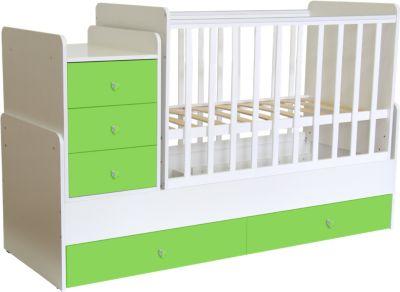 Kombi-Kinderbett Simple 1100 mit Kommode weiß-grün