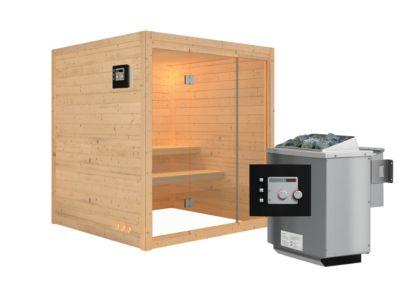Karibu Systemsauna Halmstad Front mit 9 kW Bio-Ofen (externe Steuerung), inkl. Sauna-Zubehör-Set PLUS   Bad > Sauna & Zubehör > Saunen   Massivholz   Karibu