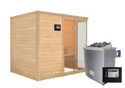 Karibu Systemsauna Kiruna Front mit 9 kW Ofen (externe Steuerung), inkl. Sauna-Zubehör-Set PLUS   Bad > Sauna & Zubehör > Saunen   Massivholz   Karibu