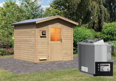 Karibu Saunahaus Salo 2 mit 9 kW Bio-Ofen (externe Steuerung), inkl. Sauna-Zubehör-Set PLUS | Baumarkt > Bad und Sanitär > Sauna und Zubehör | Fichte | Karibu