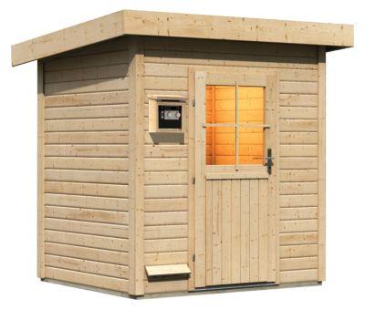 Karibu Saunahaus Naantali mit 9 kW Bio-Ofen (externe Steuerung), inkl. Sauna-Zubehör-Set PLUS | Baumarkt > Bad und Sanitär | Fichte | Karibu