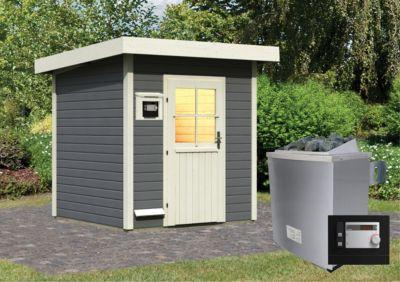 Karibu Saunahaus Kuopio terragrau mit 9 kW Ofen (externe Steuerung), inkl. Sauna-Zubehör-Set PLUS | Baumarkt > Bad und Sanitär > Sauna und Zubehör | Fichte | Karibu