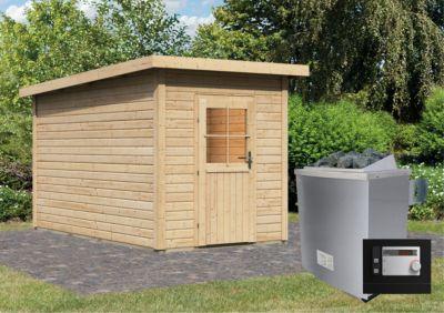 Karibu Saunahaus Kuopio mit Vorraum & 9 kW Ofen (externe Steuerung), inkl. Sauna-Zubehör-Set PLUS | Baumarkt > Bad und Sanitär | Fichte | Karibu