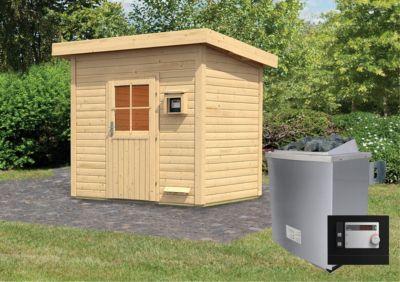 Karibu Saunahaus Nikkala mit 9 kW Ofen (externe Steuerung), inkl. Sauna-Zubehör-Set PLUS | Baumarkt > Bad und Sanitär > Sauna und Zubehör | Fichte | Karibu