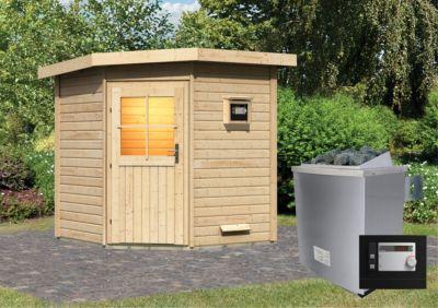 Karibu Saunahaus Virpa mit 9 kW Ofen (externe Steuerung), inkl. Sauna-Zubehör-Set PLUS | Baumarkt > Bad und Sanitär > Sauna und Zubehör | Fichte | Karibu