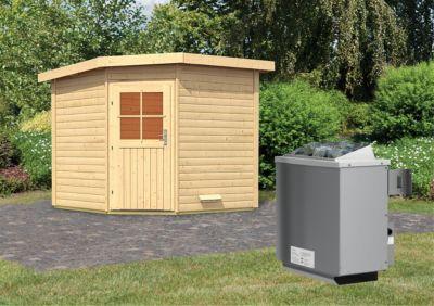 Karibu Saunahaus Dalih mit 9 kW Ofen (integr. Steuerung), inkl. Sauna-Zubehör-Set PLUS | Baumarkt > Bad und Sanitär | Fichte | Karibu