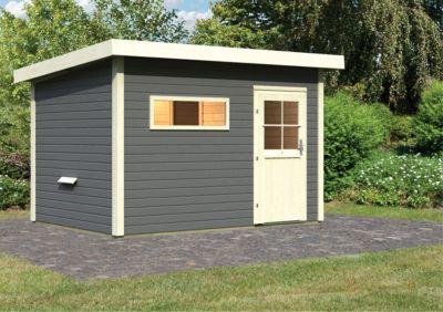 Karibu Saunahaus Kurikka 2 terragrau, inkl. Sauna-Zubehör-Set PLUS | Baumarkt > Bad und Sanitär | Fichte | Karibu