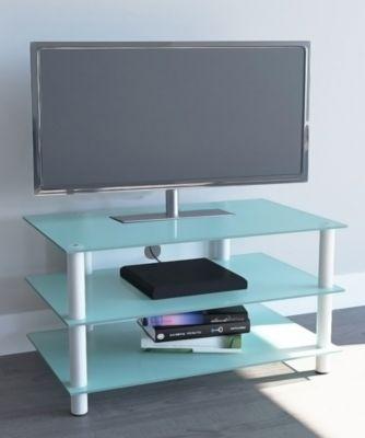 TV-Möbel ´´Netasa Weiß / Mattglas´´ | LCD Rack, LED Tisch Alu Glas