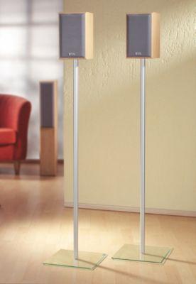 VCM 2x Sourround ´´Sulivo Mini´´ Alu Halterung Glas Standfuss Boxenständer Lautsprecher Ständer