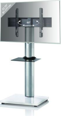 VCM TV-Standfuß LED Ständer Fernseh Standfuss Alu Glas Universal ´´Onu Mini´´ Universell VESA Mobil Rollen Fahrbar   Wohnzimmer > TV-HiFi-Möbel > Ständer & Standfüße   Aluminium - Mdf   VCM