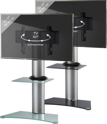 VCM TV-Standfuß ´´&#39Findal´´ mit Zwischenboden | Rack, Ständer aus Alu in Mattglas oder Schwarzglas