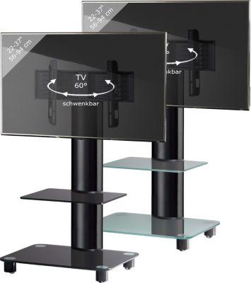 VCM TV-Standfuß &#39Bilano´´ Schwarz mit Zwischenboden | Rack, Ständer aus Alu Glas