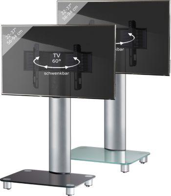 VCM TV-Standfuß ´´Bilano´´ Silber ohne Zwischenboden   Rack, Ständer aus Alu Glas