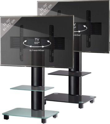 VCM TV-Standfuß &#39Tosal´´ Schwarz mit Zwischenboden  Rack, Ständer aus Alu Glas   Wohnzimmer > TV-HiFi-Möbel > Ständer & Standfüße   Aluminium - Sicherheitsglas   VCM