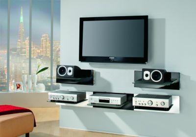 VCM Paneelserie ´´Xeno-1´´ Schwarzglas | Hifi-Halterung für Receiver, DVD-Player