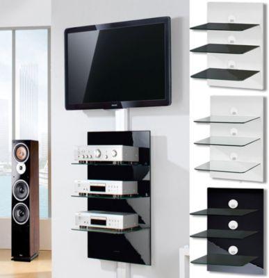 VCM Paneelserie ´´Xeno-3´´ Schwarzglas | Hifi-Halterung für DVD-Player, Receiver