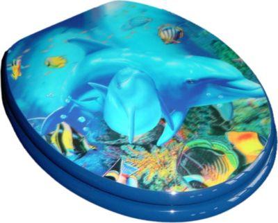 WC Sitz Toilettendeckel, Absenkautomatik, Motiv-Holzkern, 3D Delfin - Deckel Brille Klobrille Klodeckel Brille