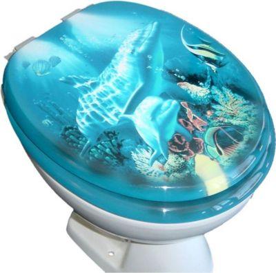 WC Klo Sitz Toilettendeckel Deckel Brille Klositz mit Absenkautomatik Motiv - Klodeckel Klobrille Toilettensitz - Delfin