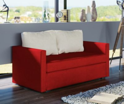 2er Couch ´´Engol Rot´´ / Sofa mit Schlaffunktion