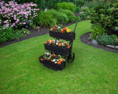 Promadino  3er Set Blumenkästen für Blumenkarre anthrazit