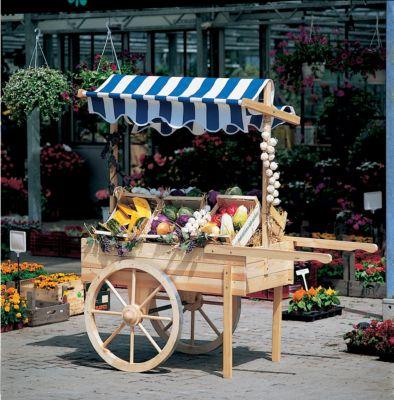 Marktwagen mit Baldachin weiß/blau