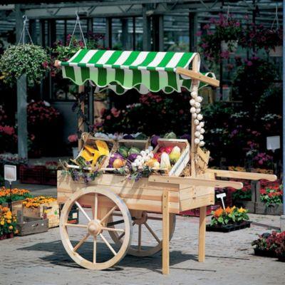 Marktwagen mit Baldachin weiß/grün